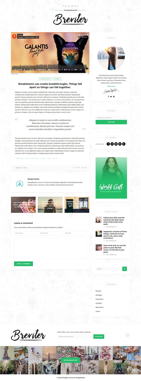 WordPress Single Post Page Template Breviter WordPress Blog Psd Templates Graphicsfuel