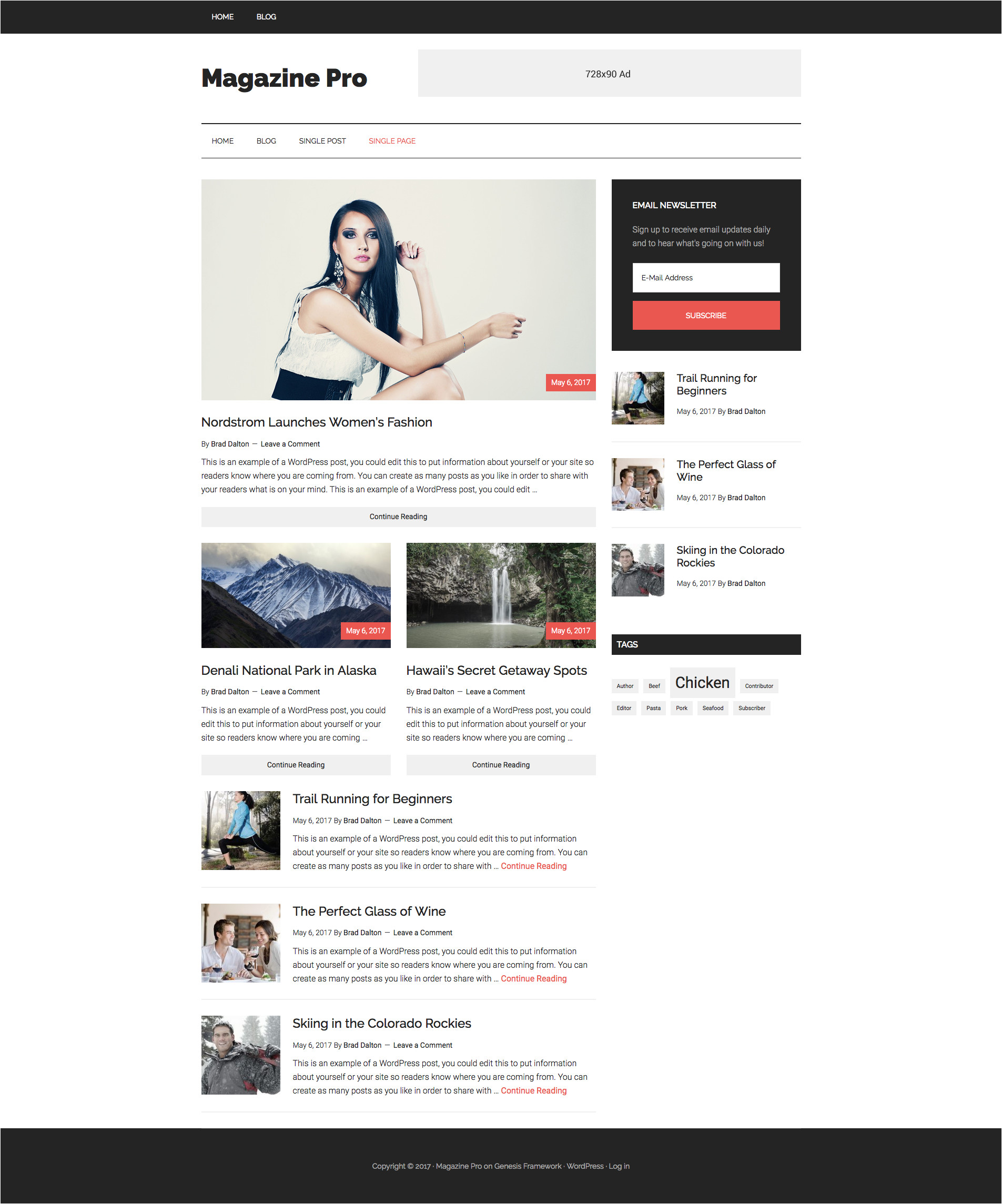 use magazine pro themes front page as template on single post types