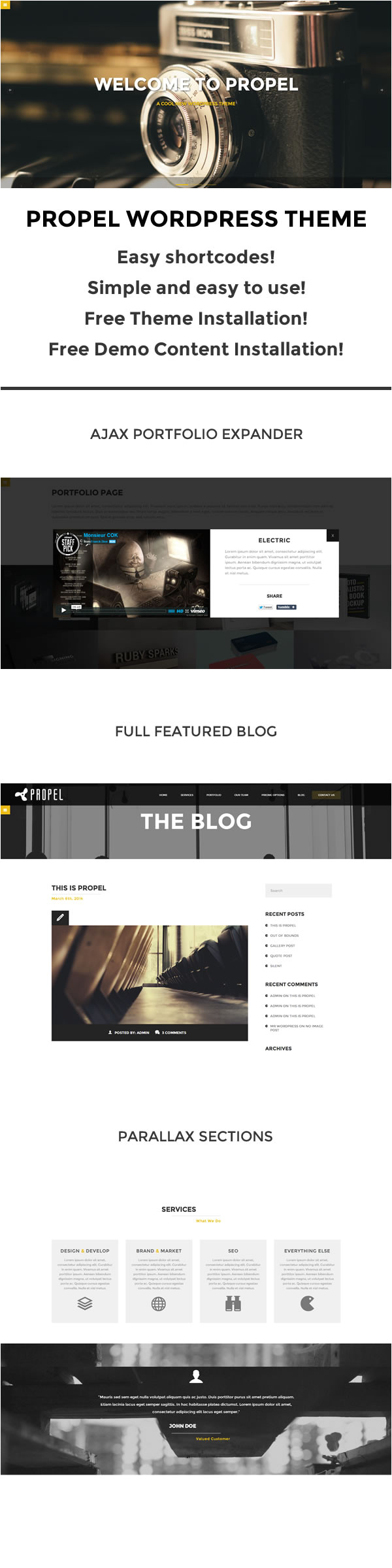 WordPress Subcategory Template Propel One Page WordPress theme themes Templates
