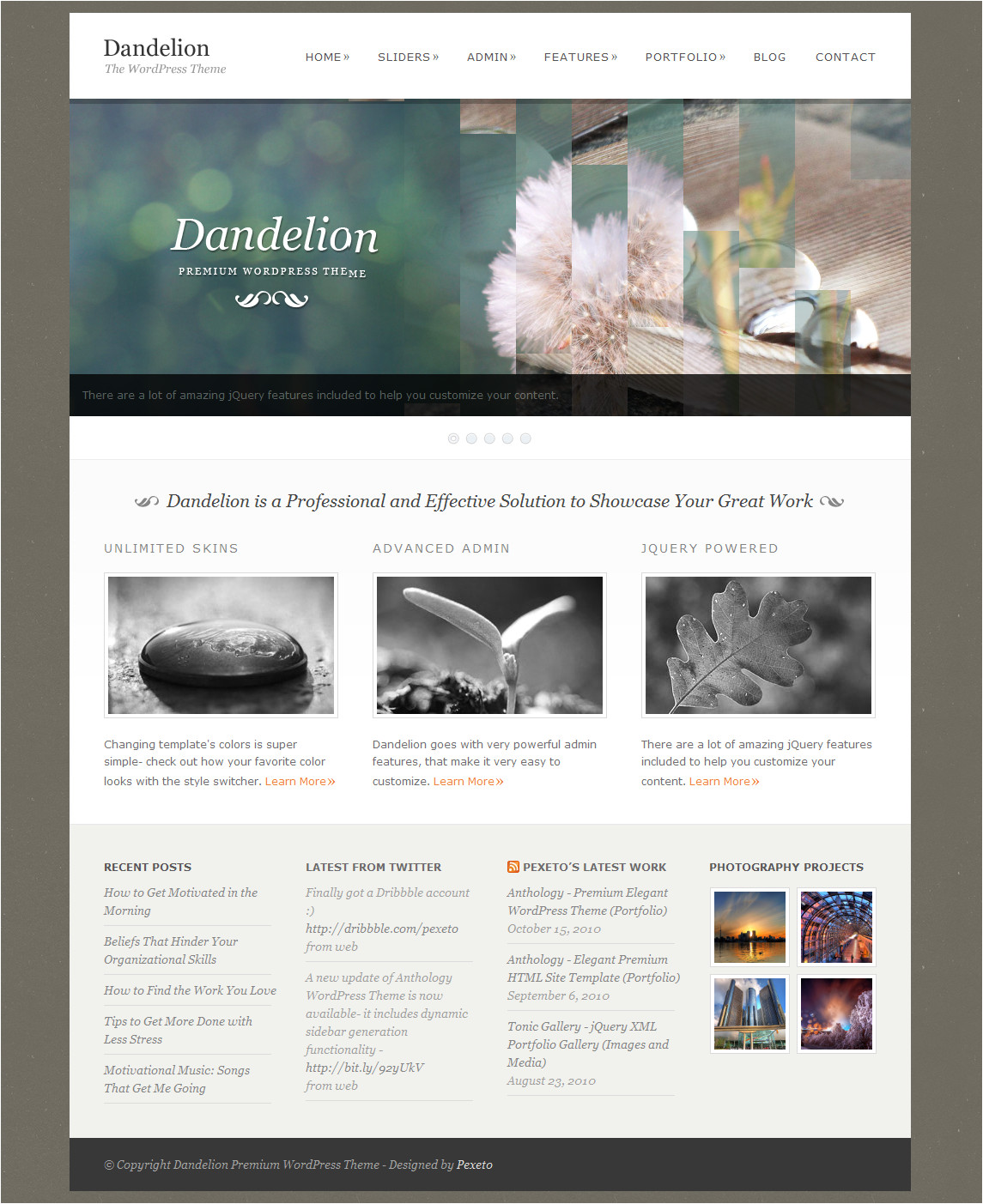 WordPress Templating Dandelion Powerful Elegant WordPress theme by Pexeto