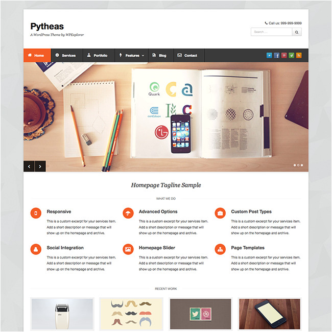 WordPress Templating Pytheas Free Responsive Corporate Portfolio WordPress theme