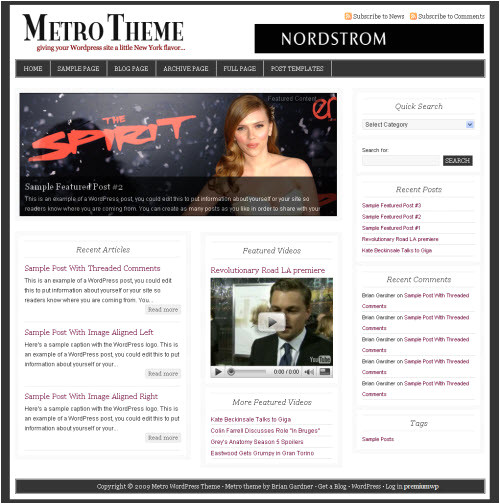 WordPress theme Post Template Metro WordPress theme Revolution Two
