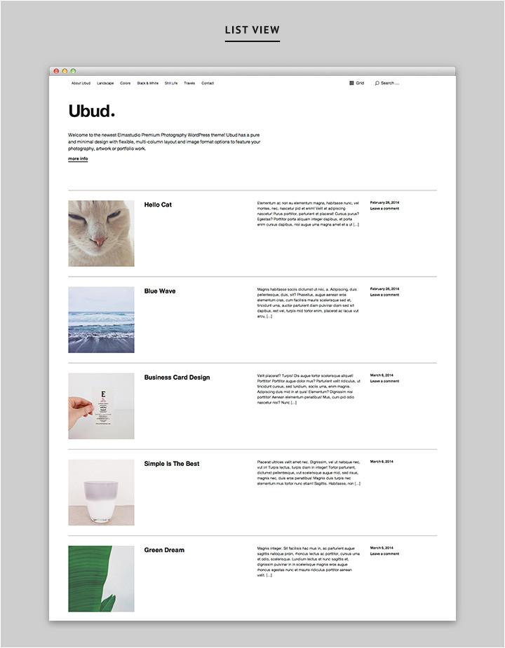 WordPress theme Post Template Ubud Unser Neuestes Minimalistisches Fotografie WordPress