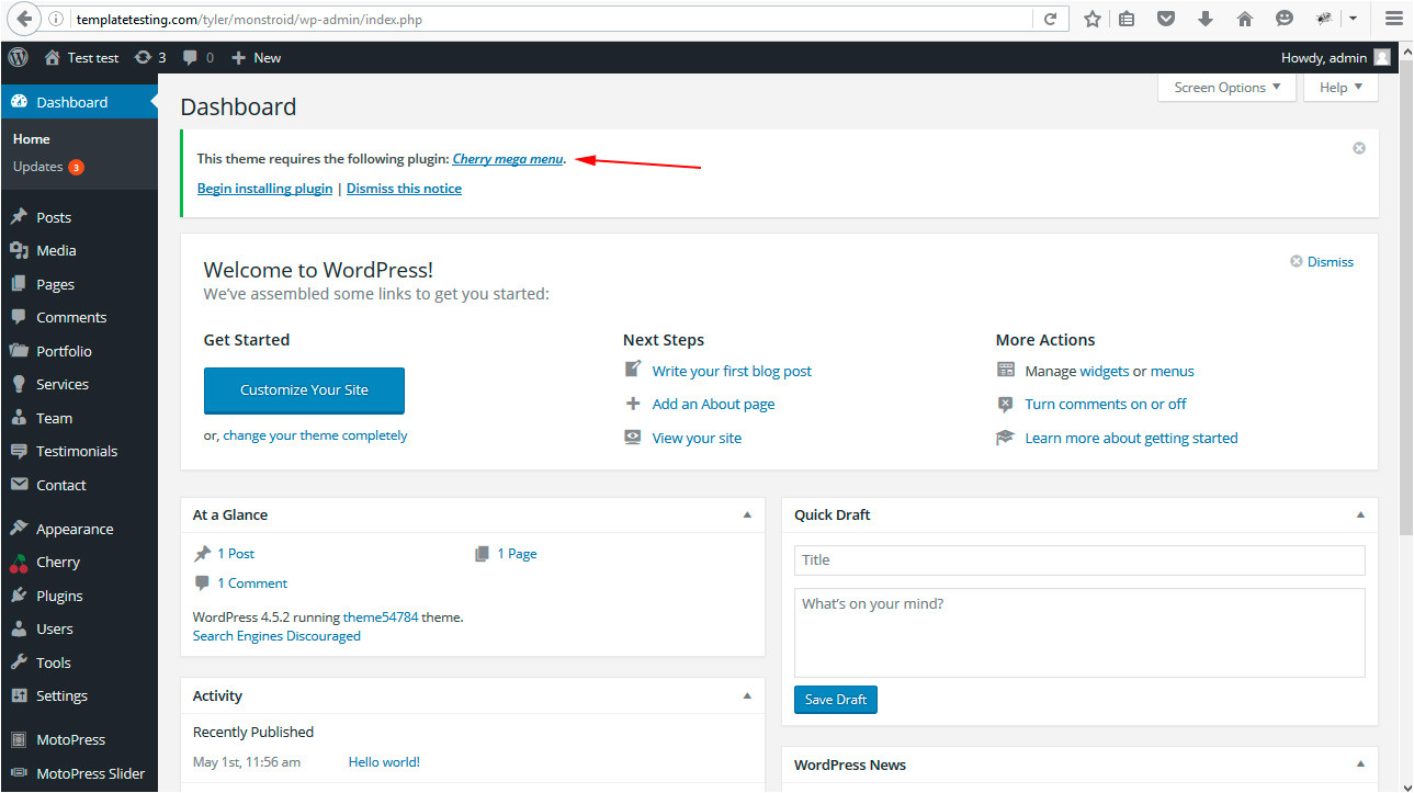 WordPress theme Template is Missing Cherryframework 4 Troubleshooter How to Upload Missing