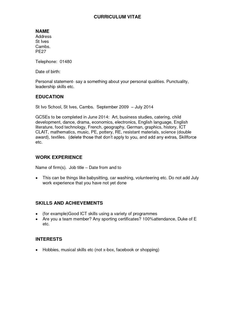 example personal statements for cv no work experience