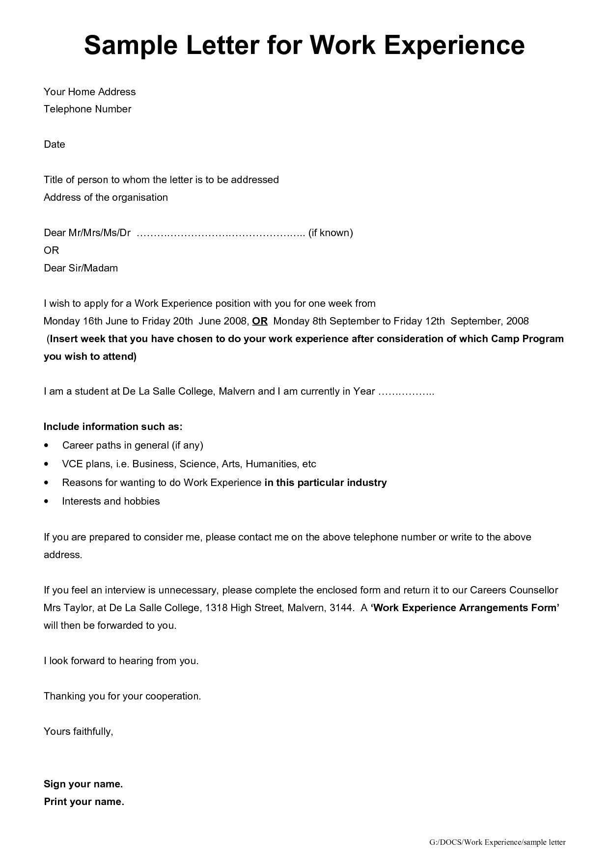 Work Experience Cover Letter Year 10 Student Work Experience Letter Template Year 10 Business Letter