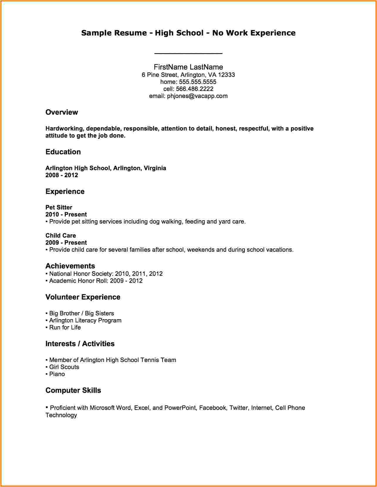 6 first resume no experience sample