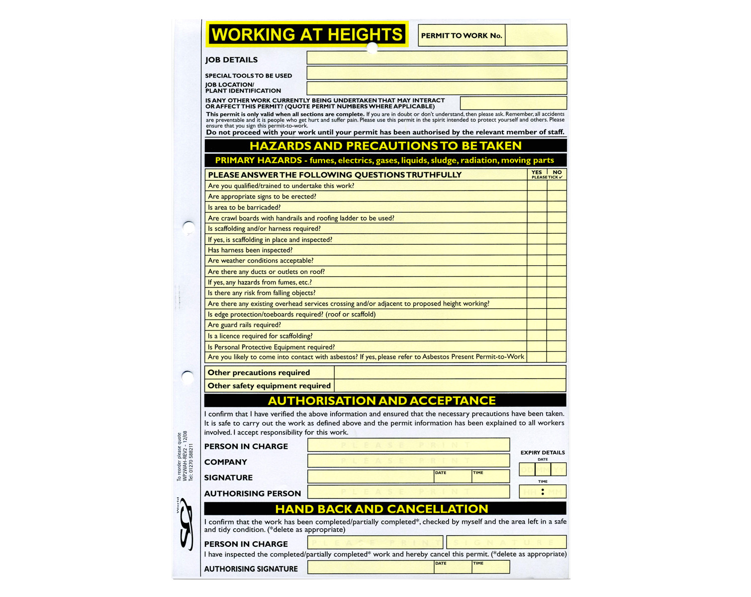 Working at Height Permit to Work Template Working at Heights Permit to Work Available From Sg World