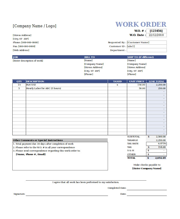 Workorder Template Excel Work order Template 13 Free Excel Document