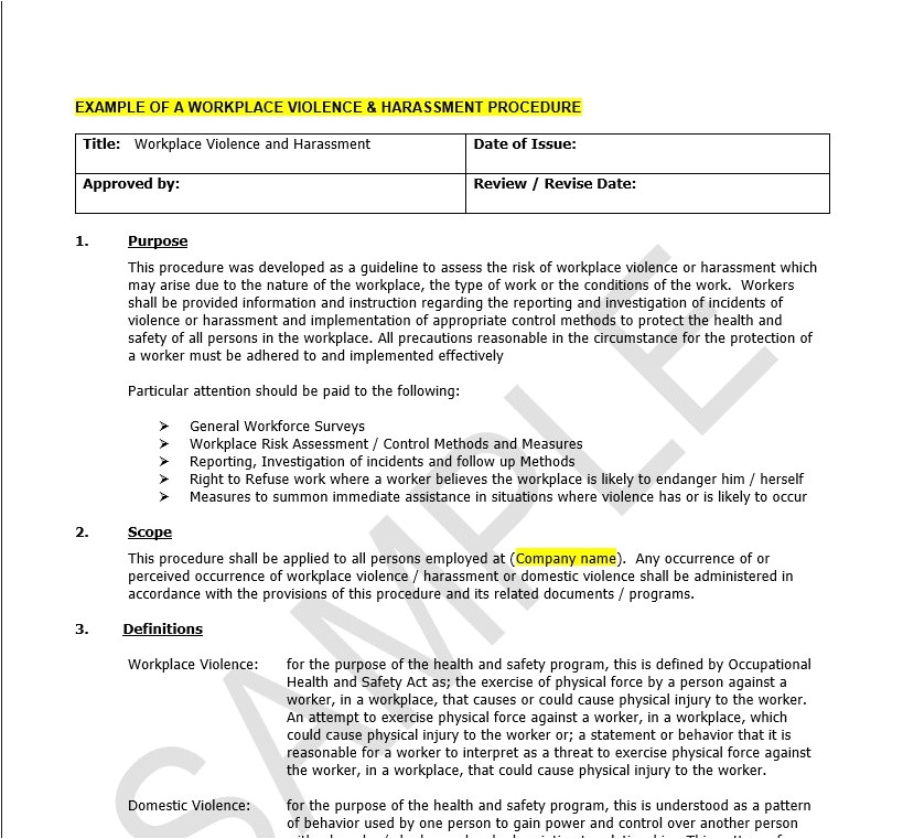 Workplace Violence and Harassment Risk assessment Template Photos Workplace Policy Samples Coloring Page for Kids