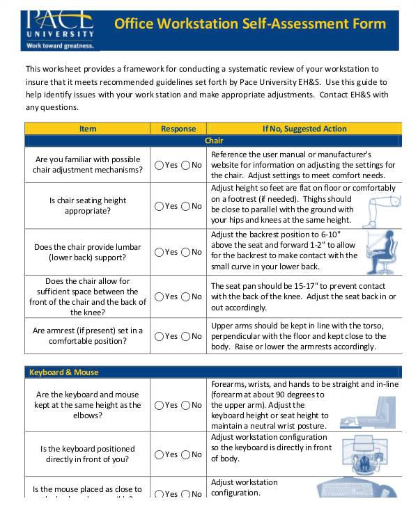Workstation assessment Template Self assessment form