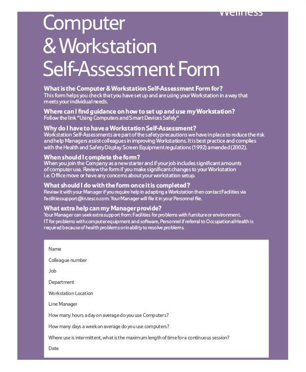 workstation assessment template