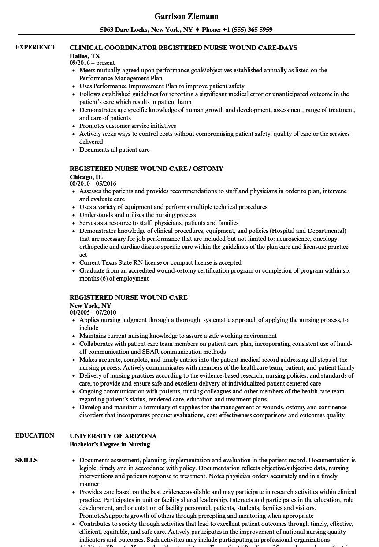 Wound Care Nurse Resume Sample Registered Nurse Wound Care Resume Samples Velvet Jobs
