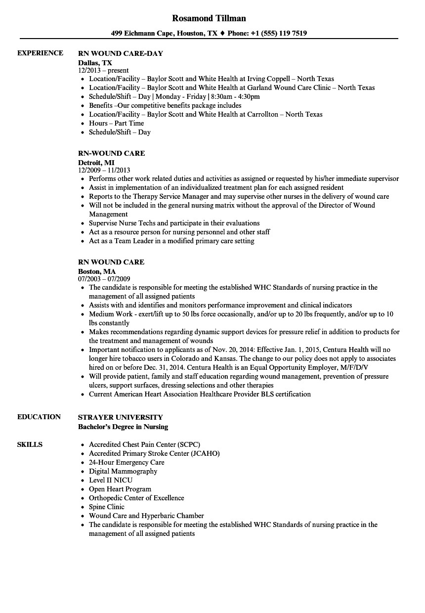 rn wound care resume sample