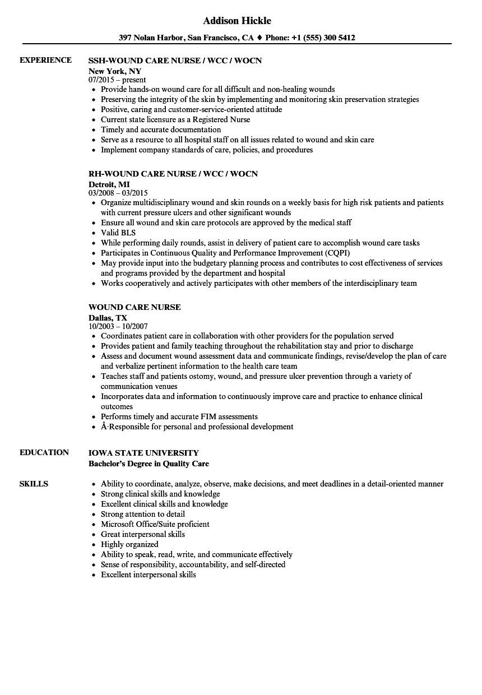 Wound Care Nurse Resume Sample Wound Care Nurse Resume Samples Velvet Jobs