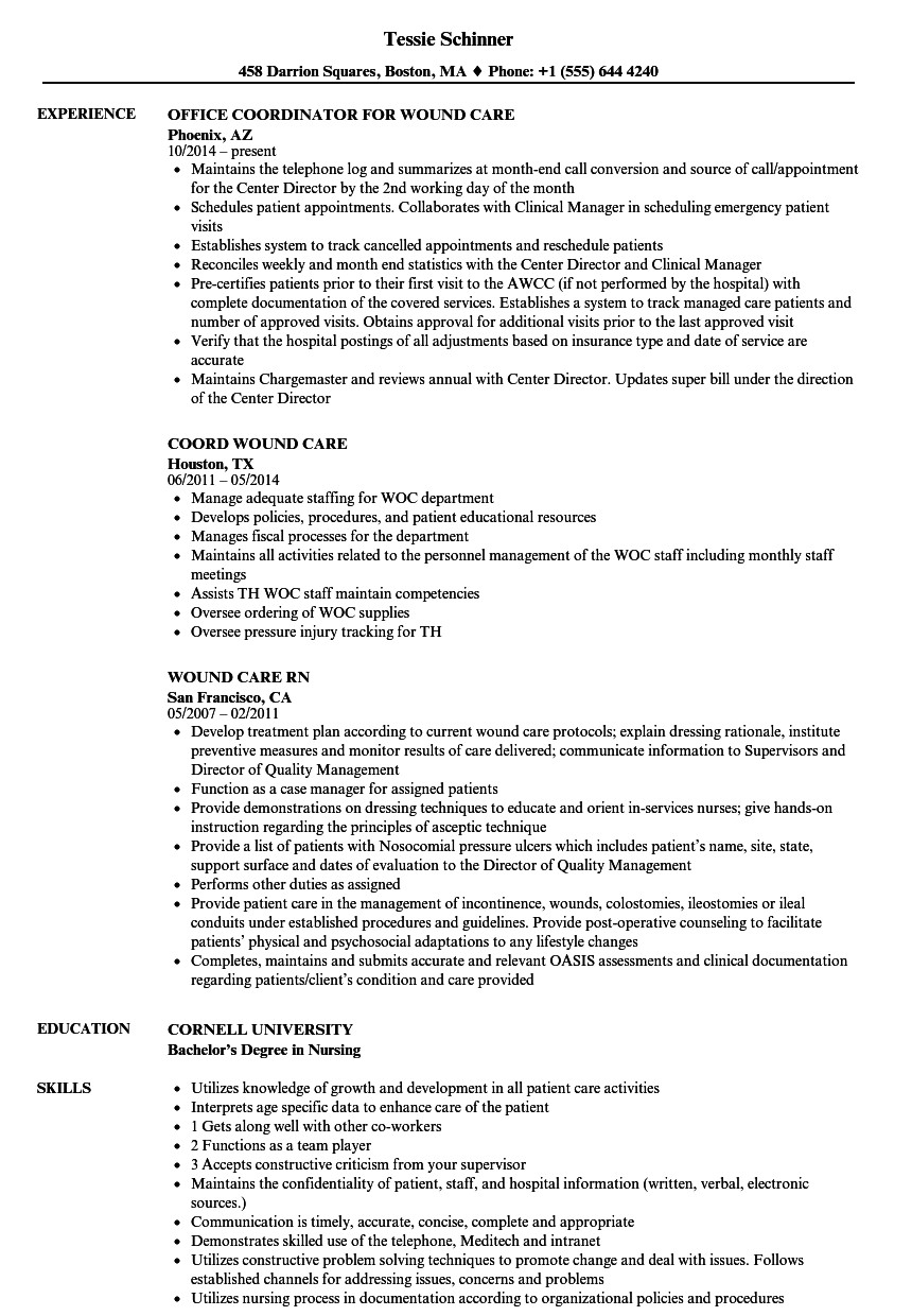 wound care resume sample