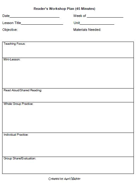 Writers Workshop Lesson Plan Template the Idea Backpack How to organize Time In Reading and