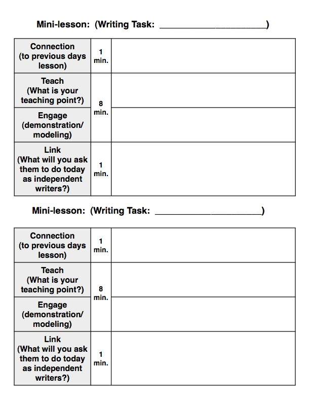 writing lesson plan template
