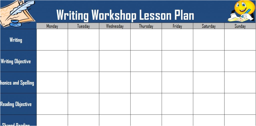 writing workshop lesson plan template