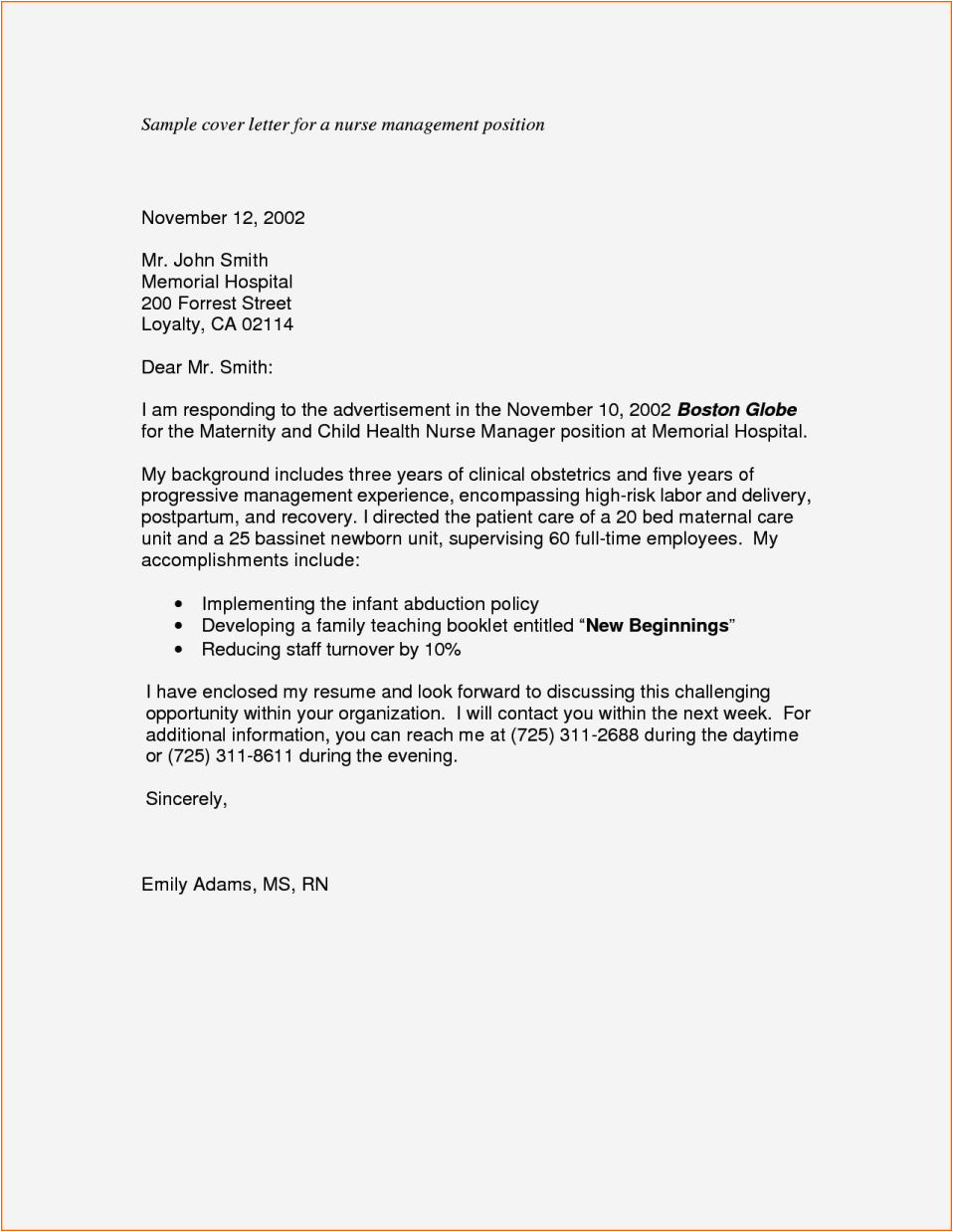 Writing A Cover Letter for A Management Position Cover Letter for Manager Position Resume Template