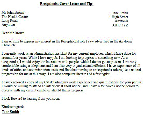 receptionist job application cover letter example