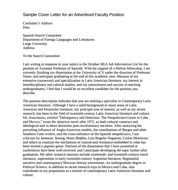 faculty position cover letter