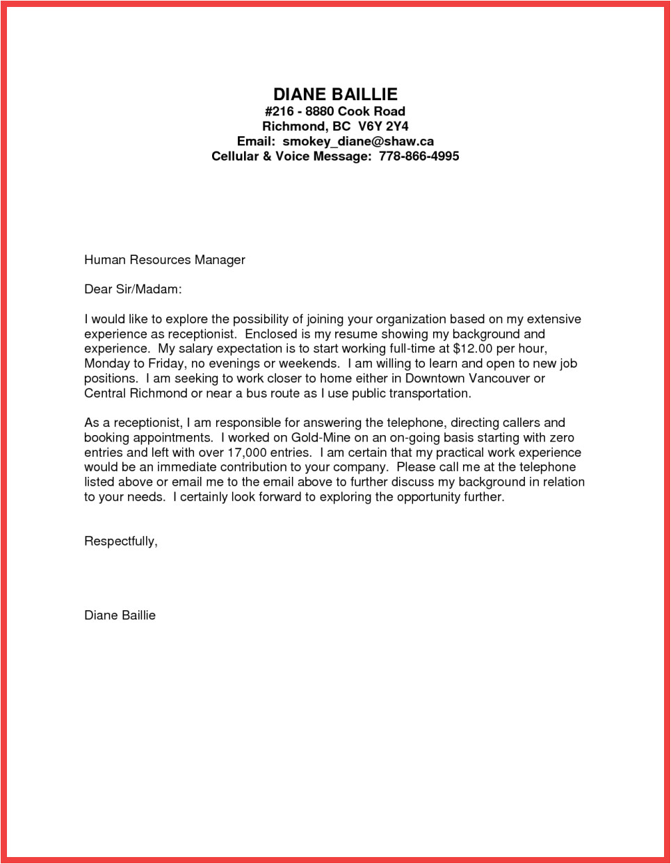 Writing A Cover Letter for No Specific Job formal Cover Letter Sample Memo Example