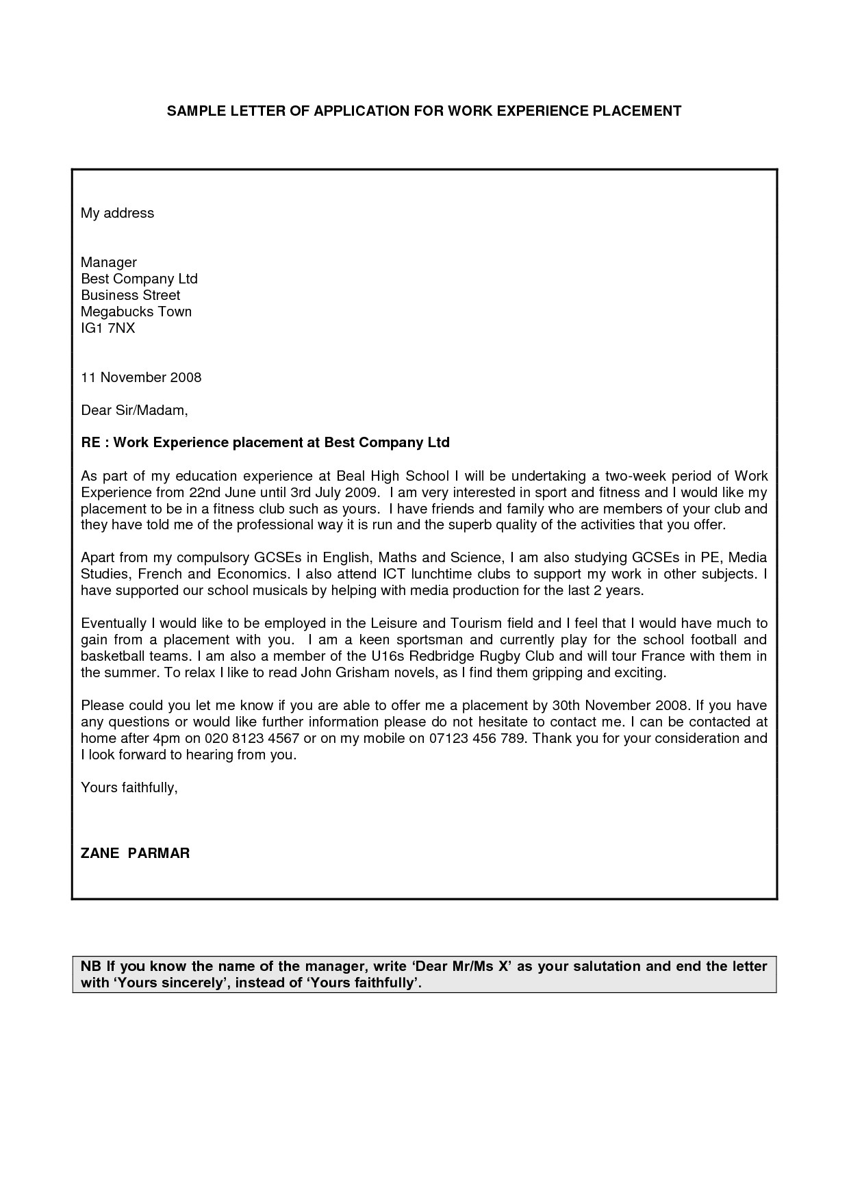 sample request letter for work experience