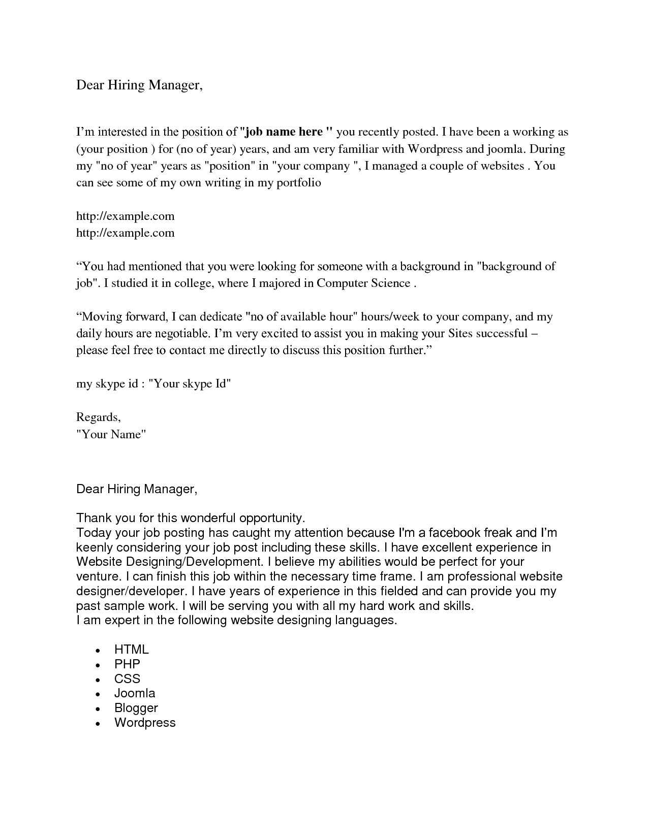 address cover letter without name