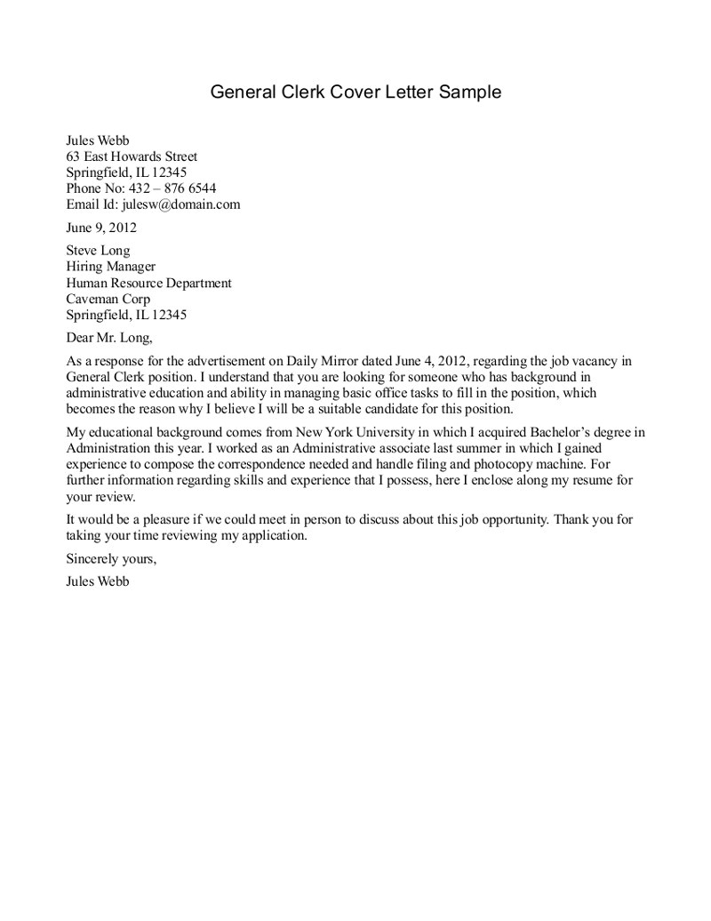how to write a general cover letter