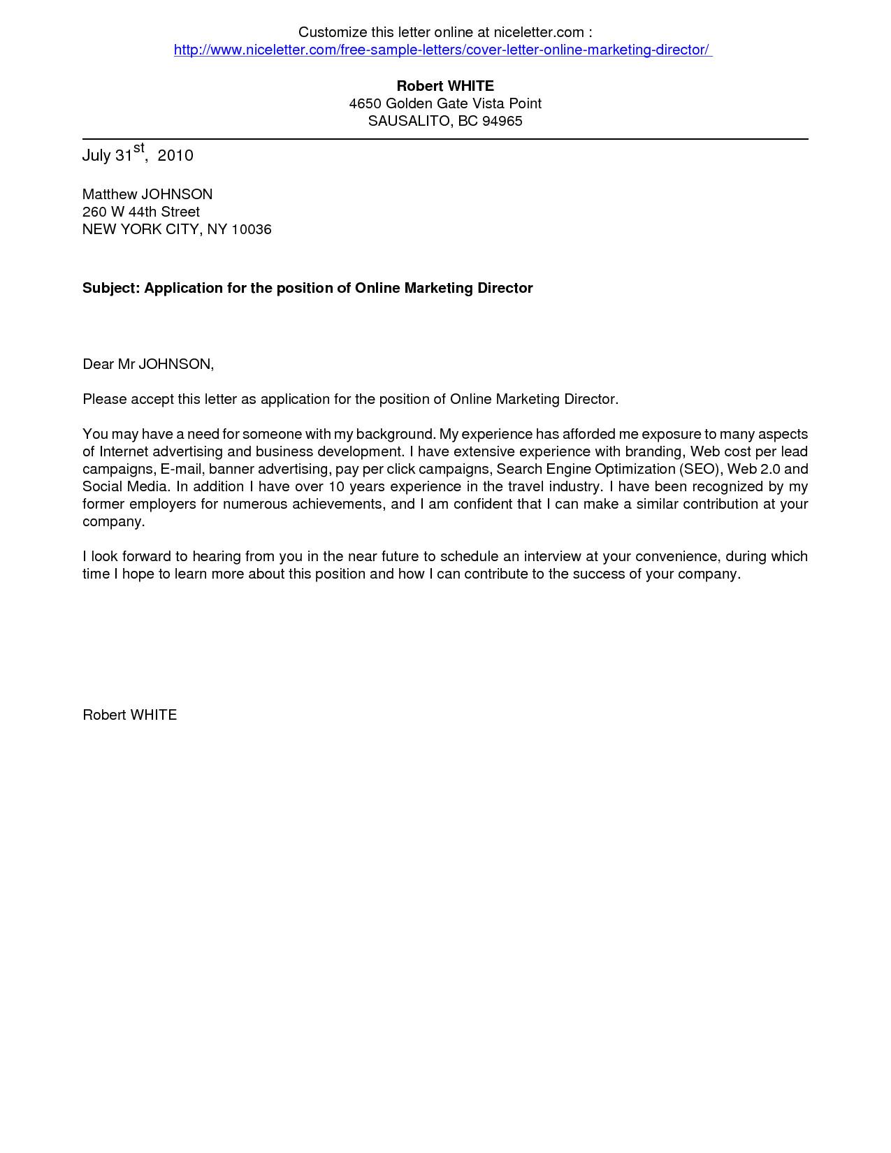 download cover letter format