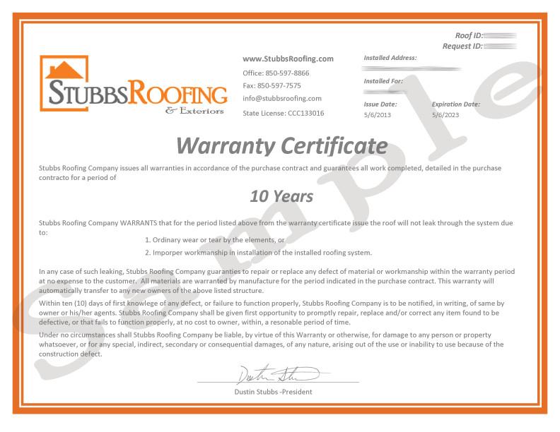 10 year labor warranty
