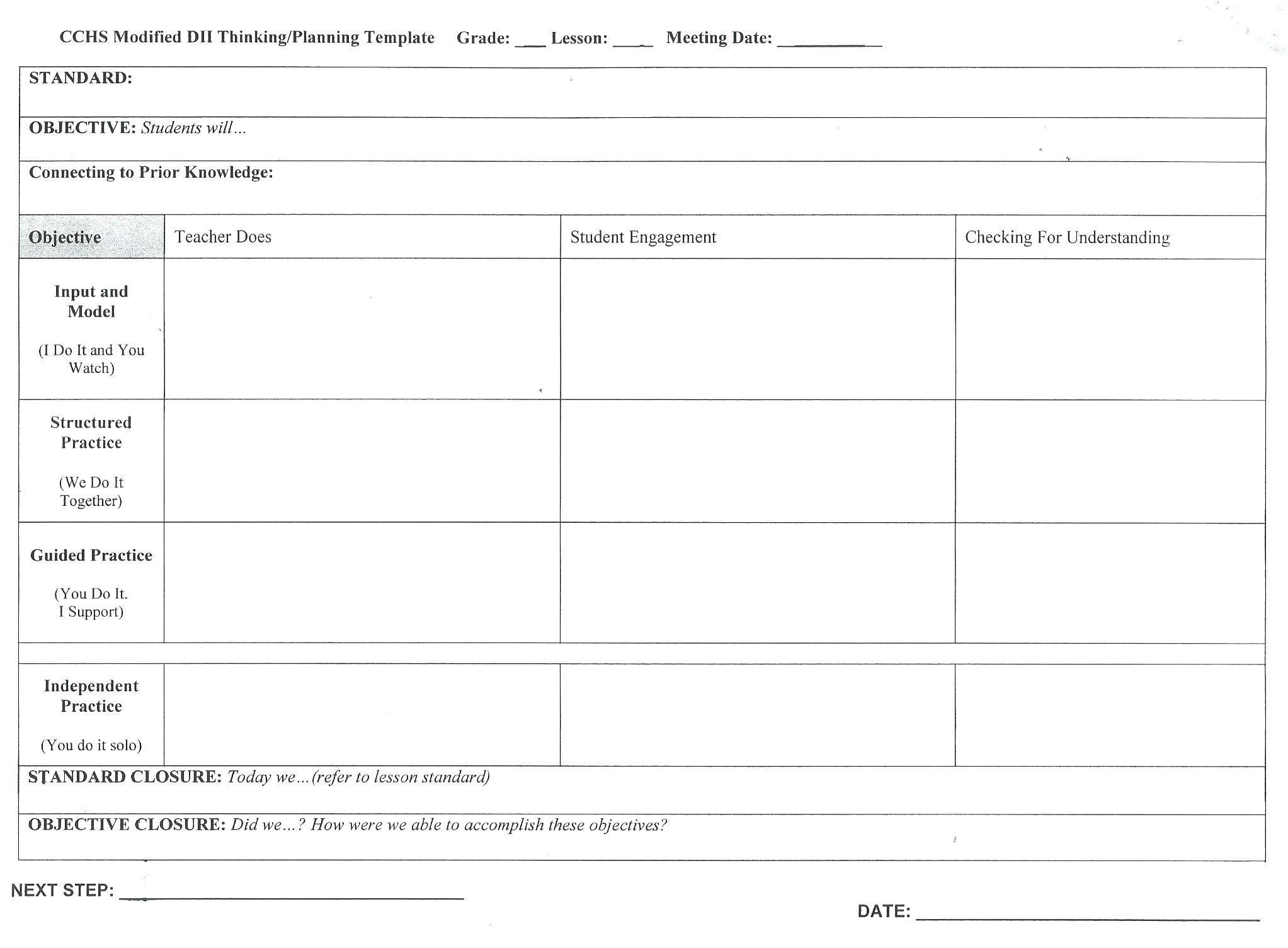 otes lesson plan template
