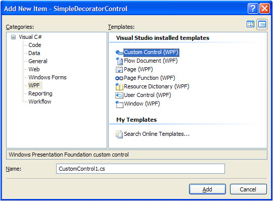 wpf custom control library template
