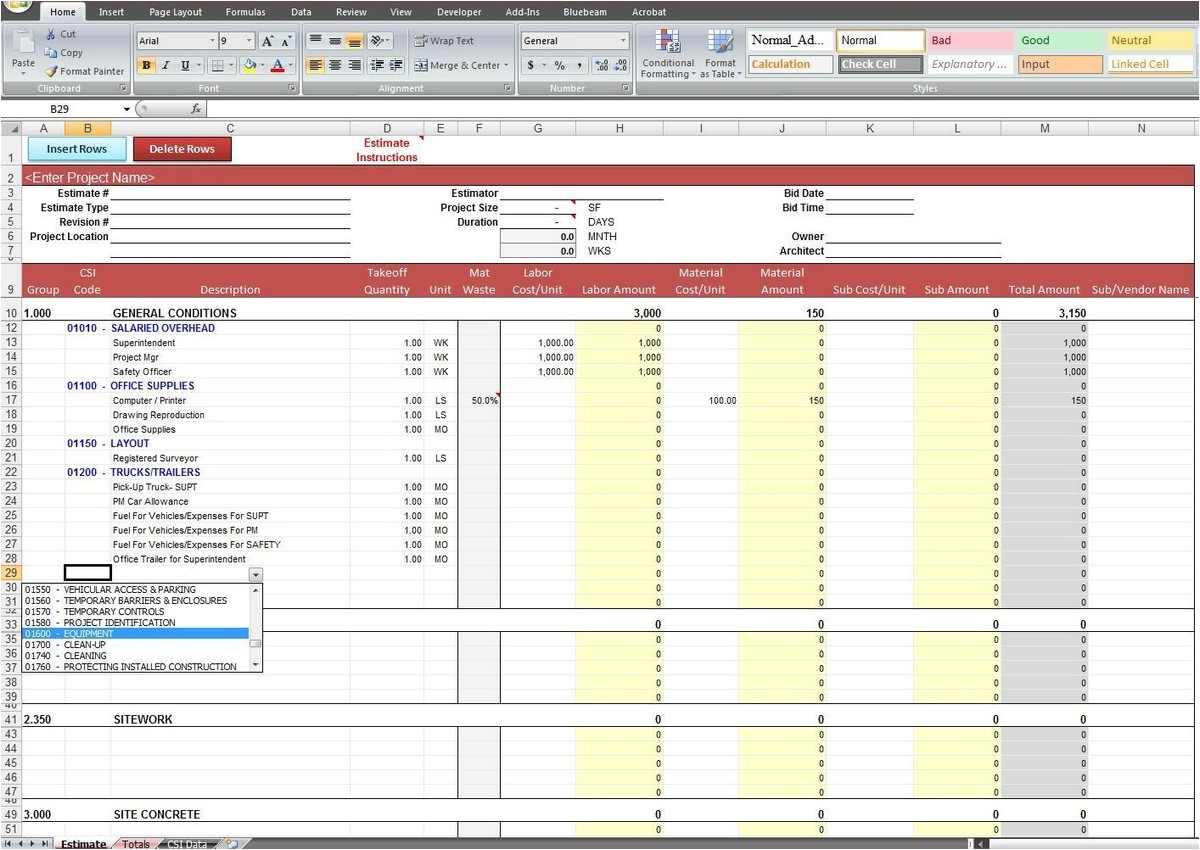 construction estimating spreadsheet template xls