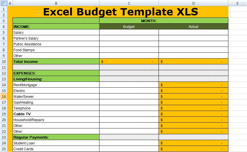 free excel budget template xls
