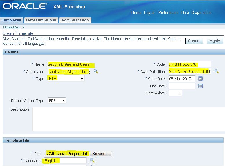 xml publisher and r12