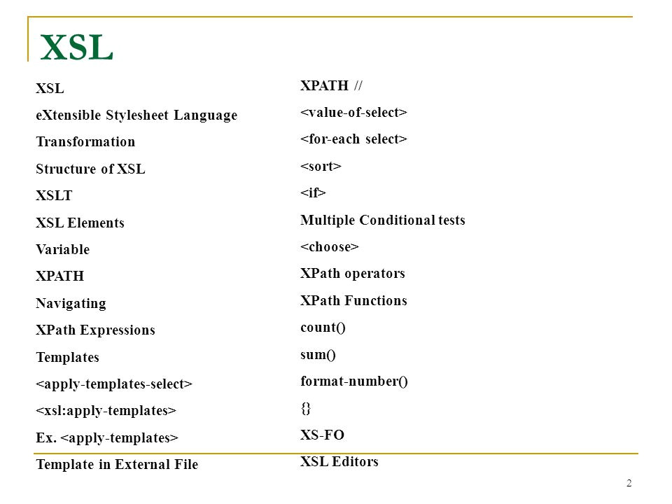 Xsl Multiple Templates Extensible Stylesheet Language Ppt Download