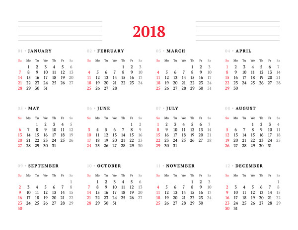 free 2018 yearly monthly printable calendar