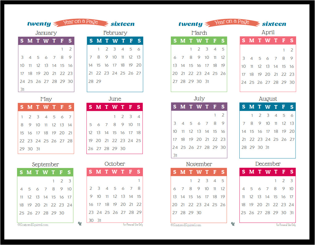year long 1 page calendar 2017