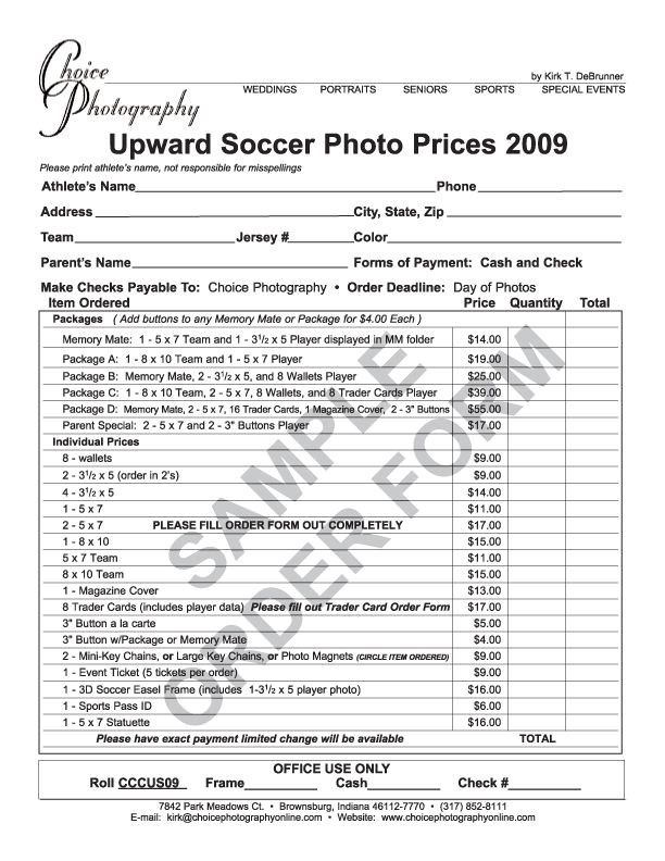 Youth Sports Photography Templates Youth Sports Photography order form Sports Pictures