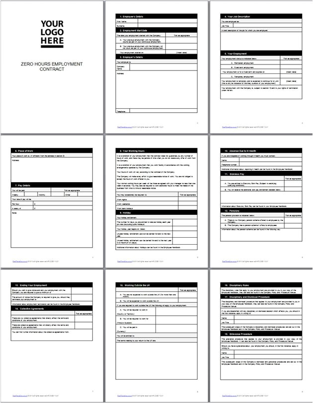 0 Hour Contract Template Zero Hours Contract Zero Hours Contract Template
