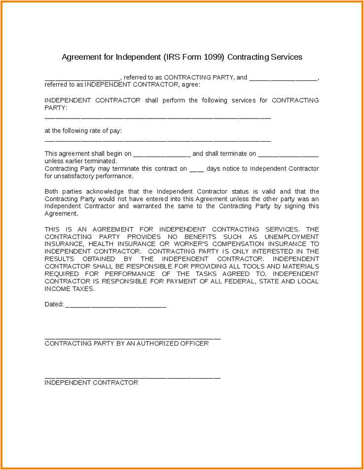 1099 Employee Contract Template Employment Agreement Florida Regular 1099 Employee