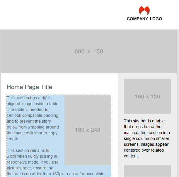 2 Column Responsive HTML Email Template Responsive HTML Email Templates