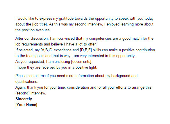 sample thank you email after second interview