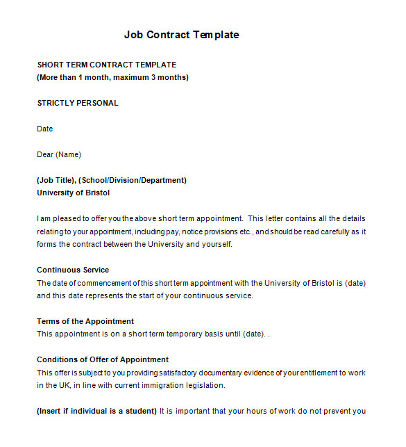 3 Month Employment Contract Template 18 Job Contract Templates Word Pages Docs Free
