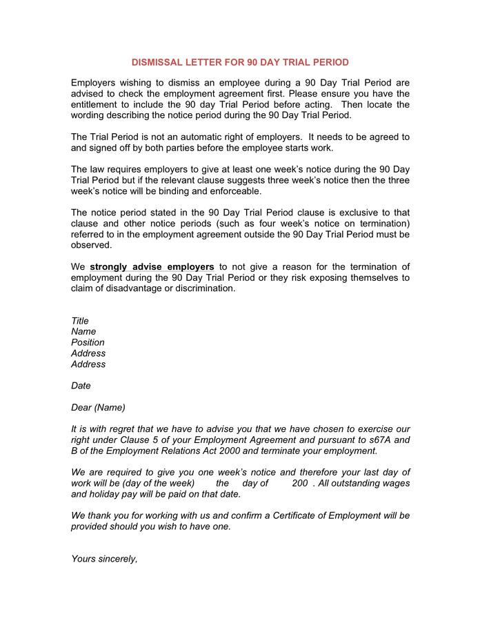 dismissal letter for 90 day trial period