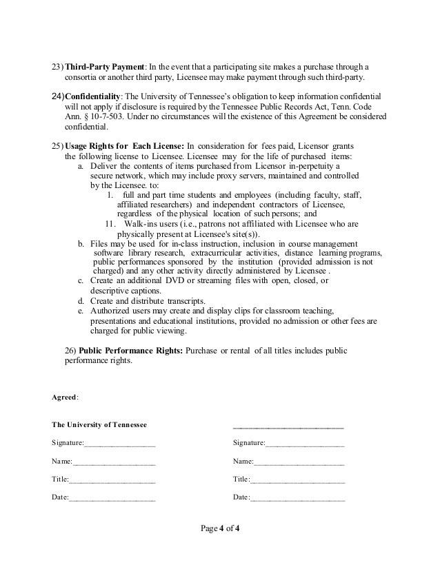 master agreement template streaming media