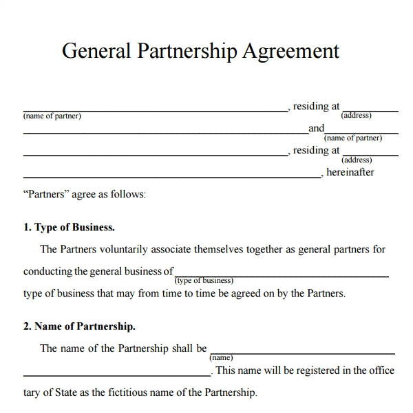 50 50 Partnership Contract Template Sample Partnership Agreement 24 Free Documents Download