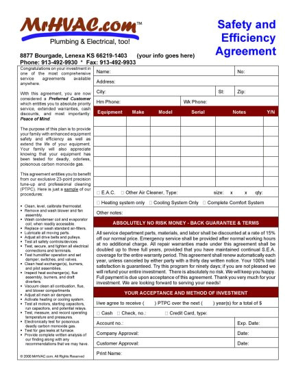 air conditioning maintenance contract template